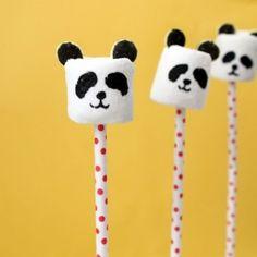 Panda bear marshmallow pops