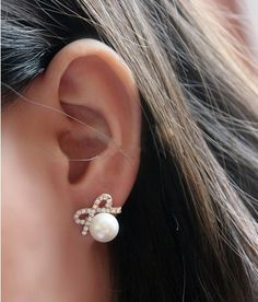 Fashion Elegant Big Pearl Bow Earring just $13.99 only in ByGoods.com