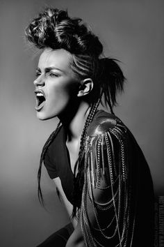 EXPRESSION Modern Urban Rock n Roll look and style. Black and White model shot great jacket and hair
