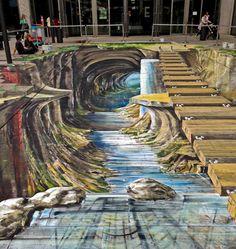 Amazing street art by Gregor Wosik and Inge Wagner Murals Street Art, 3d Street Art, 3d Street Painting, Best Street Art, Amazing Street Art, Mural Art, Street Art Graffiti, Street Artists, Amazing Art