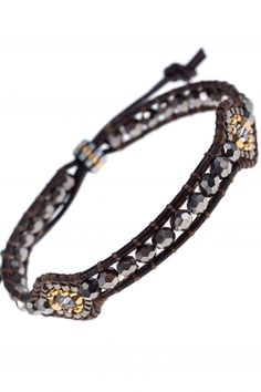 #gold & silver beaded leather bracelet I designed by #miguel #ases I NEWONE-SHOP.COM