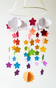 Custom Baby Mobile- Rainbow Star Design Www.madeit.com.au/kbsdesigns #babymobiles #rainbowmobiles
