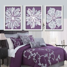 Purple Lavender Gray Flower Burst Outline Dahlia Floral Bloom Artwork Set of 3 Prints WALL Decor Abstract ART Picture Bedroom Bathroom Three on Etsy, $29.00