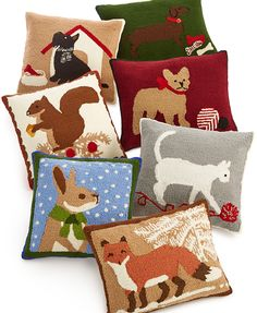 A cute fox here… an adorable bunny rabbit there… your home is about to look like a Winter wonderland — Martha Stewart decorative pillows