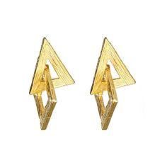 Yochi Geometric Earrings Yochi ($42) ❤ liked on Polyvore featuring jewelry, earrings, women, triangle earrings, square earrings, geometric earrings, yochi and geometric jewelry