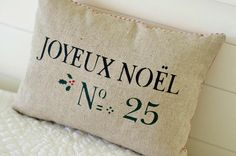 French Christmas Pillow Cover 12x16 by larksongcreations on Etsy, $22.00
