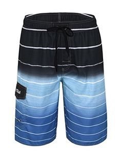 ebce18f26a Nonwe Men's Beachwear Quick Dry Striped Beach Shorts Blue Mens swim shorts  for holidays on the beach.Wish you have a good time at the seaside.