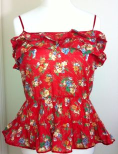 New - Womens WAREHOUSE Bright Red Floral Frill Detail Strappy Summer Top - UK 14