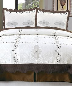 Another great find on #zulily! Brown & White Athena Lavish Home Embroidered Quilt Set #zulilyfinds