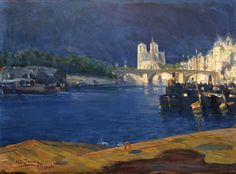 Henry Ossawa Tanner View of The Seine, Looking Toward Notre Dame, 1896, Oil on canvas, 14 7/8 x 20 1/8 in.  I learned of Tanner as an art student in college. He was a visual genius. There is an original Tanner hanging in an office at my alma mater.