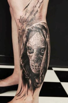 Death Eater mask from Harry Potter by Florian Karg, Vicious Circle Tattoo, Germany Bad Tattoos, Funny Tattoos, Tattoos For Guys, Sleeve Tattoos, Cool Tattoos, Tatoos, Awesome Tattoos, Incredible Tattoos, Skull Tattoos