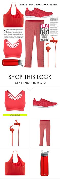 """""""RUN IN RED"""" by amltra ❤ liked on Polyvore featuring Sweaty Betty, Saucony, Sony, prAna, The North Face, CamelBak and Humör"""