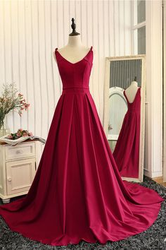 Red v neck satin long prom dress, red evening dress, red formal dress for teens