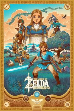 The Legend of Zelda Breath of the Wild Screen printed poster illustrated by Courtney Autumn Martin The Legend Of Zelda, Legend Of Zelda Breath, Legend Of Zelda Poster, Zelda Breath Of Wild, Breath Of The Wild, Ocarina Of Time, Overwatch, Cry Anime, Anime Art