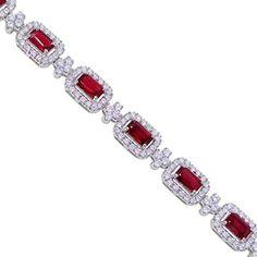 Halo Design Diamond and Ruby Bracelet
