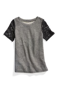 Stitch Fix Winter Essentials: A contrast lace sleeve is the perfect way to add a little edgy to your casual wardrobe.