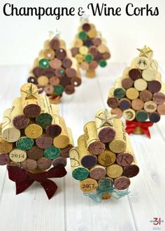 These champagne & wine corks craft is easy to make and is an adorable Christmas decoration, Christmas tree ornament & gift. Wine Cork Projects, Wine Cork Crafts, Wine Bottle Crafts, Crafts With Corks, Wine Bottles, Cork Christmas Trees, Christmas Gift Decorations, Christmas Crafts, Christmas Ideas