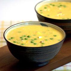 Sweetcorn, Pea & Tofu Soup from Almost Skinny Vegan Food