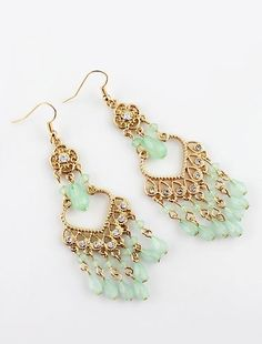 Green Gemstone Tassel Gold Dangle Earrings