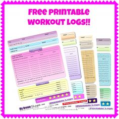 Free Printable Fitness Logs! On www.mydreamshape.com