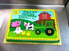 Creative Picture of Farm Birthday Cake . Farm Birthday Cake Old Mcdonald Had A Farm Cake Cake Recipes Creative Cakes Home Farm Birthday Cakes, Animal Birthday Cakes, Farm Animal Birthday, 2nd Birthday, Tractor Birthday, Birthday Ideas, Birthday Parties, Barnyard Cake, Farm Cake