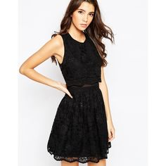 ASOS Lace Crop Top Skater Dress ($68) ❤ liked on Polyvore featuring dresses, black, lacy black dress, floral skater dress, asos dresses, lace skater dress and tall dresses
