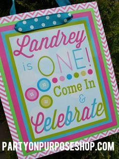 Cute as a Button Birthday Party Decorations Package - Sew Cute Door Sign