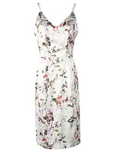 Clothink Women White Floral V Neck Split Shift Prom Casual Bodycon Dress L *** Check this awesome product by going to the link at the image.