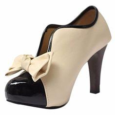 QIYUN.Z Frauen Vintage-Stil Bowknot-Blockabsatz Aprikose Charme Mädchen Pumpen Schuh - http://on-line-kaufen.de/qiyun-z/35-eu-qiyun-z-frauen-vintage-stil-bowknot-aprikose