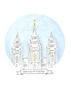 Salt Lake City Temple - Families are Forever - LDS Temple Painting