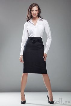 Black wool skirt with bow. Skirt Outfits, Sexy Outfits, Dress Skirt, Business Outfits, Office Outfits, Work Outfits, Office Attire, Office Wear, Pretty Dresses