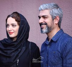 Hossein Pakdel (Iranian actor) and his wife, Behnoosh Tabatabaei (Iranian actress) Bride Hairstyles With Veil, Grey Hair Men, Iranian Actors, Cyrus The Great, Persian Beauties, Iranian Beauty, Persian Girls, Alexander The Great, Just Smile