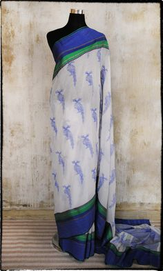 From fatherland.in An artist who's work i truly admire and having met him know his passion is real! c31 Hand Woven Pure Cotton Sari With Brihadeeshwara Berunda Imprint