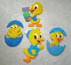 Vtg Easter Spring Plastic Popcorn Decoration Chick Duckling Flowers Egg Yellow