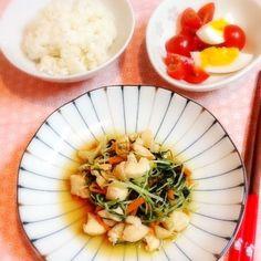簡単においしい~♪ - 45件のもぐもぐ - 水菜と鶏肉の炒め&トマトサラダ by lilianhuang