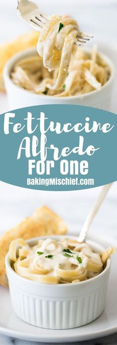 This Quick and Easy Fettuccine Alfredo for One can be made in less than twenty minutes and makes a fabulously cheesy lunch or dinner.  Recipe for One 