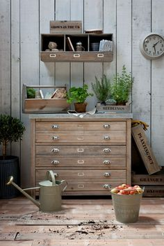 Love this durable zinc top storage unit with 3 double drawers from Garden Trading. Would look great indoors too!