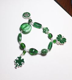 Shamrock Pewter Charms with Dark Green Glass Beadwork by tzteja, $10.00