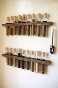 Here's a test tube spice rack that I made to hold all of my spices. I tried to improve upon previous test tube spice racks that I've seen by using a nice lookin