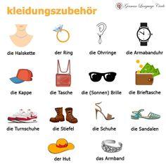 kleidungszubehör - Clothing accessories! .. .. ------------------------------------ For more: Follow @germanlanguagecircle  Follow @germanlanguagecircle  Follow @germanlanguagecircle  Follow @germanlanguagecircle .. .. .. #germanlanguage #germanlanguagecircle #german #languagelearning #language #kleidungszubehör #kleidung #armband #ring #deutschland #deutsch #deutschonlinelernen #lernendeutsch #lernenlernen #learninglanguage #studygermanlanguage #languagestudy #languageexchange #vocabularywords  I Want To Work, Give It To Me, German Language Learning, Learn German, Future Career, Feeling Happy, Tips, Pocket Wallet, Wristlets