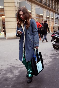 Blogger Georgiana Boboc genius here rocking her denim with sequins for day...why didn't I think of this? #alltheprettybirds #vintagetraffic