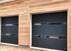 Leicester based CMS Doors supply and fit Sectional Garage Doors, Roller garage doors and Alluguard Garage Doors acorss Leicestershire, Nottingham, Derbyshire Contemporary Garage Doors, Modern Garage Doors, Modern Exterior Doors, Garage Door Styles, Garage Door Design, Contemporary House Plans, Black Garage Doors, Glass Garage Door, Halle