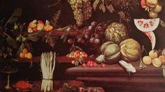 ANONIMO CARAVAGGESCO ( PIER PAOLO BONZI? MAESTRO DELLA NATURA MORTA DI HARTFORD? GIOVANNI FRANCESCO GUERRIERI da Fossombrone? ) ( attivo a Roma intorno al 1620 ). NATURA MORTA DI FRUTTA E ORTAGGI. olio su tela. 122 × 165,5 cm. Modena. Galleria Estense. Inv. No. 219.
