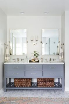 gray bathroom vanity, modern mirrors coastal chic Inspiration from our customers is the best kind. Grey Bathroom Vanity, Grey Bathrooms, Bathroom Renos, Beautiful Bathrooms, Bathroom Interior, Master Bathroom, Blue Vanity, Master Bedrooms, Neutral Bathroom