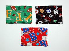 Sports  Set of 3 Reusable Snack Bags by RKEMdesigns on Etsy