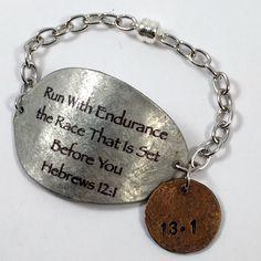 Hebrews 12:11 Spoon Bracelet with Penny Charm, Scripture Bracelet, Silverware Jewelry, Gift for Runner, runners bracelet, Commemorate race by kyleemaedesigns on Etsy