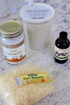 in-shower lotion bars (equal parts beeswax, shea butter, coconut oiil)