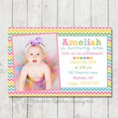 Pastel Rainbow Chevron Birthday Invitation - DIY Custom Printable on Etsy, $10.00
