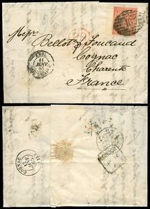 GB QV 1865 LETTER LONDON TWIN 46 CANCEL SG81 PG WING MARGIN to COGNAC...cv £250