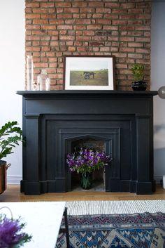 Paint Fireplace, Fireplace Mantle, Fireplace Design, Fireplace Ideas, Black Fireplace Surround, Black Brick Fireplace, Faux Mantle, Mantel Ideas, Farmhouse Fireplace